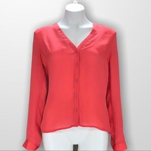 GUESS V Neck Button Down Blouse Size Small